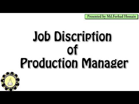 Production Manager Job Description | JD Of A PM | Task Of A PM | Job Description Of PM