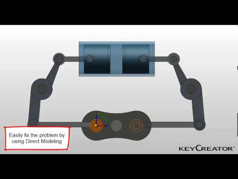 KeyCreator Direct CAD - animation of piston finds error and fixes it