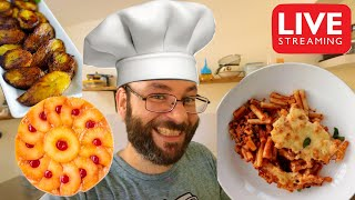 Beefaroni, Fried Plantains, & Peach Upside Down Cake | November 10th Cooking Live Stream