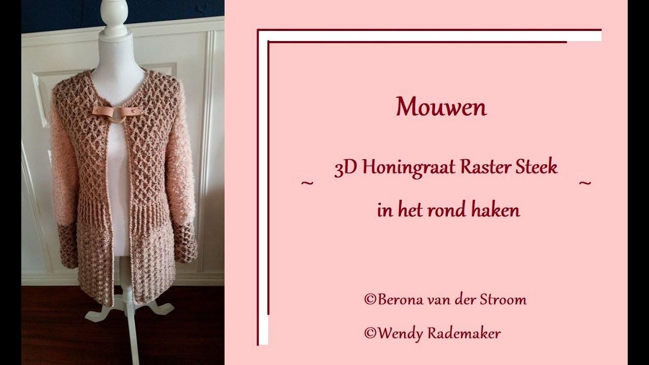 Vest Van Berona Mouwen Haken 3d Honingraat Raster Steek Rond