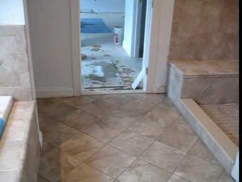 Ceramic Tile Master bathroom and Jacuzzi deck - YouTube