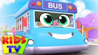 Blue Wheels on the bus | Bus Song | Baby Toot Toot From Kids Tv | the wheels on the bus