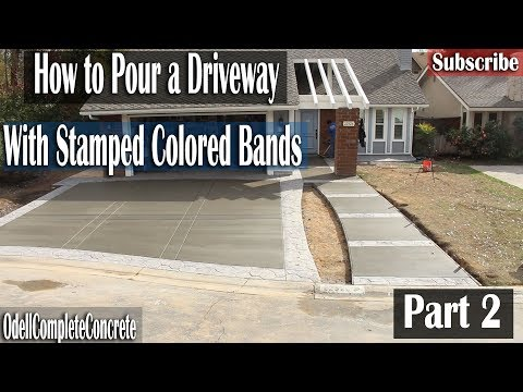 How to Pour a Concrete Driveway With Random Stone Stamped Bands Part 2