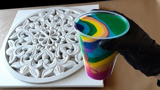 Relaxing Acrylic Pouring on Wood | Mandala & Catcher Canvas! Interesting results!
