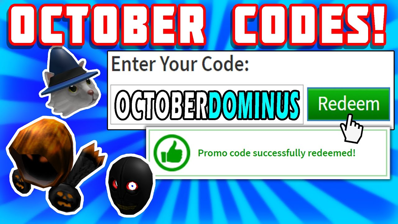 ACTUAL NEW PROMO CODES? FREE DOMINUS? (Roblox Halloween October 2020) YouTube