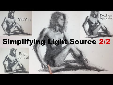 How to simplify complex light condition to singular light in Figure Drawing. (2/2)