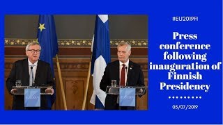 Press Conference By President Juncker And Finnish Pm Antti Rinne Following Inauguration Meeting