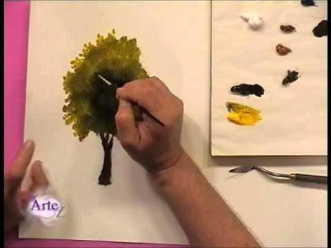Cómo pintar árboles y follajes al óleo - YouTube
