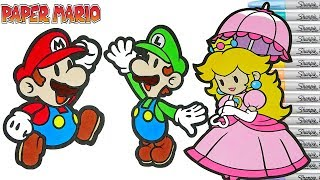 Paper Mario Coloring Book Pages Nintendo Luigi Princess Peach  Rainbow Splash