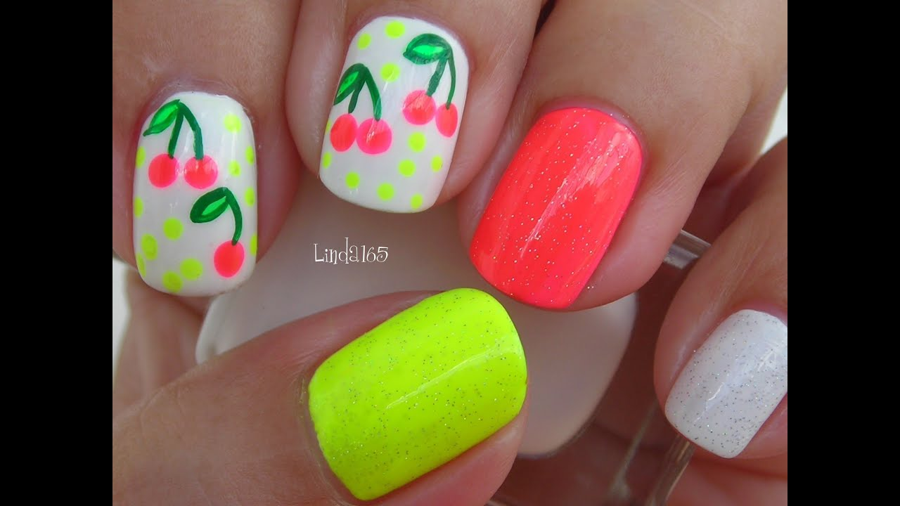 nail art acid cherries decoracion de uas cerezas acidas youtube