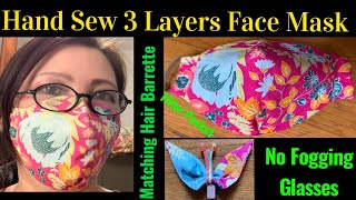 117 How To Make Breathable 3 Layers Face Mask Hand Sew Face Mask Matching Hair Barrette