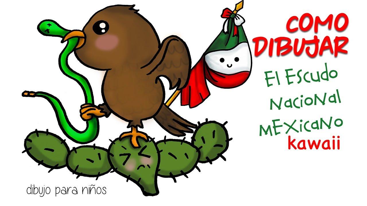 Como dibujar el escudo nacional Mexicano kawaii - YouTube 1f5256ccd21