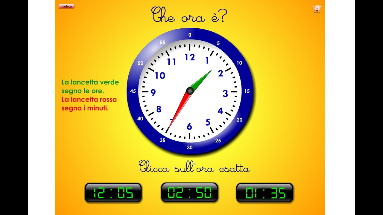 Esercizi vari12 imparare l 39 orologio youtube for Baby flash italiano doppie