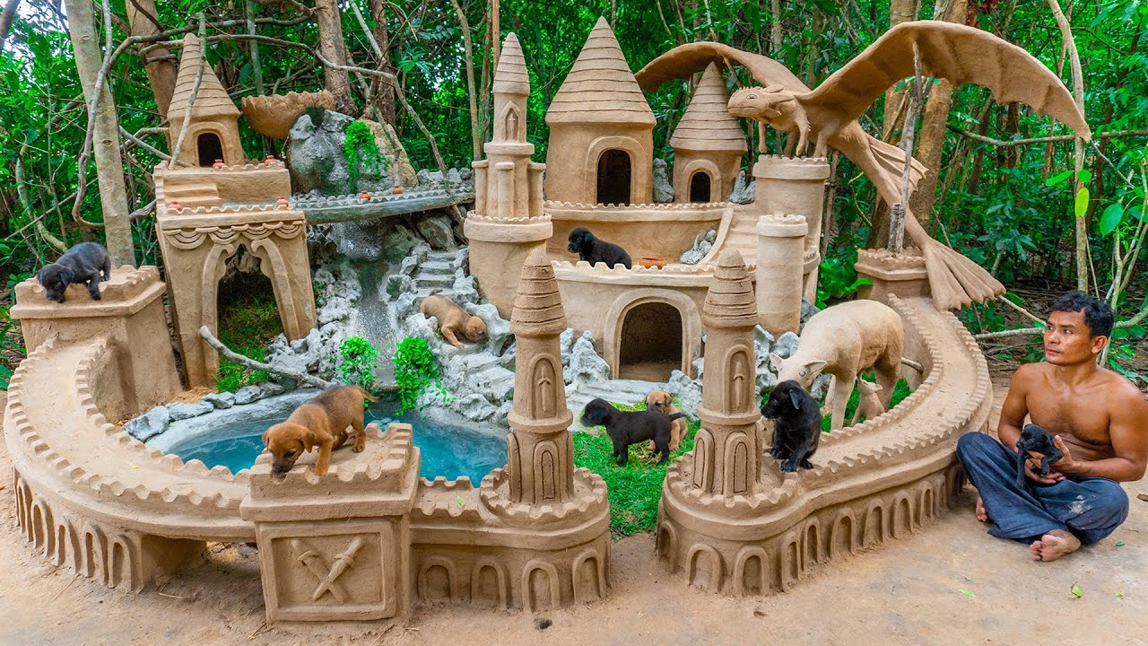 Dog Rescued And Dog Feeding Build Great Wall Around Dog Castle House From Mud