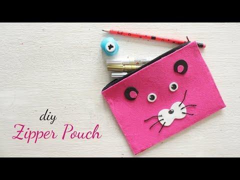 DIY Zipper Pouch  No Sew  Craft Ideas