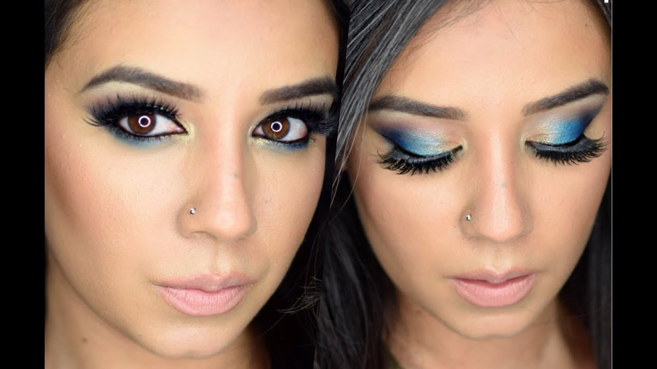 blue and gold makeup look