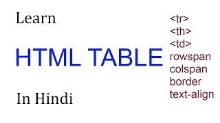 HTML TABLE TUTORIAL HINDI