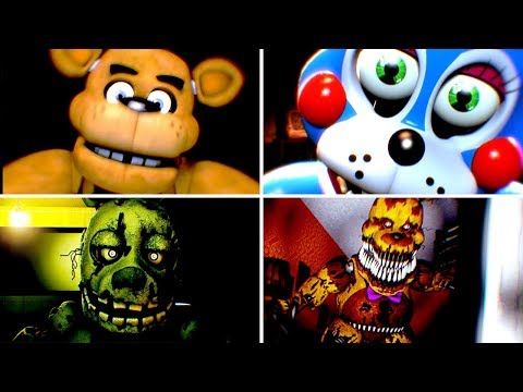 [FNAF SFM] Five Nights at Freddy's 1-4 All Jumpscares Animation