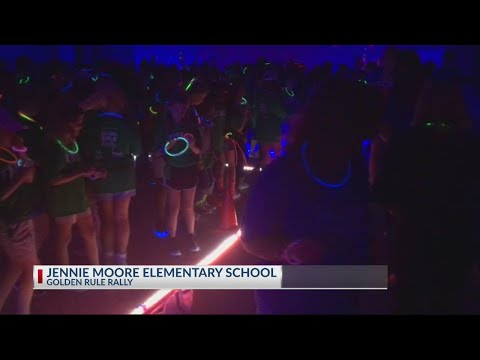 Rob Fowler visits Jennie Moore Elementary School for Golden Rule Rally