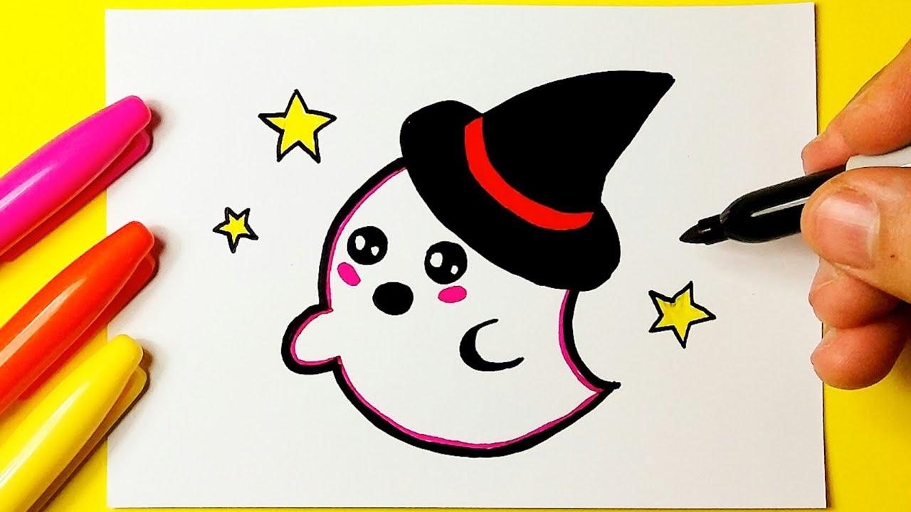 Como Desenhar Fantasma De Halloween Desenhos Kawaii Desenho