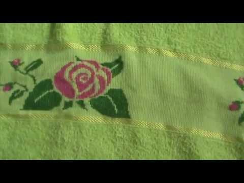 video  flores em ponto cruz para toalha de banho