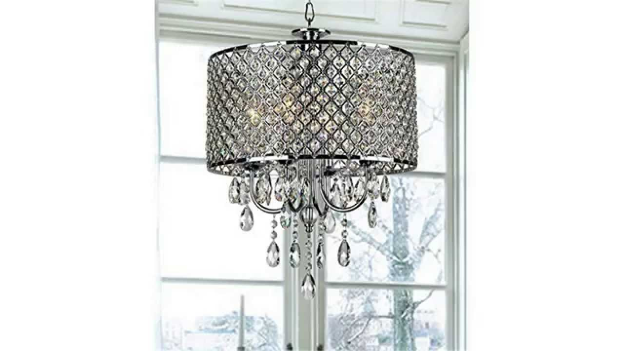 Chrome finish 4 light round chandelier youtube youtube premium aloadofball Image collections
