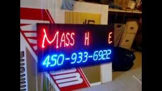 Montreal Enseigne LED Light Sign panel box  MASSOTHERAPIE