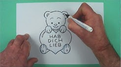 Wie zeichnet man einen Gruss zum Valentinstag ? Zeichnen für Kinder