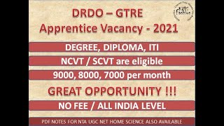 #DRDOApprenticeVacancy2021 #iti #drdorac #apprentice DRDO RAC GTRE Apprentice Online Form 2021