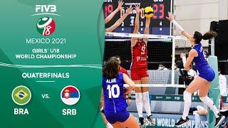 LIVE 🔴 BRA vs. SRB - Quarterfinals | Girls U18 Volleyball World Champs 2021