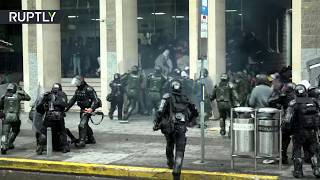 Students clash with police in Colombia