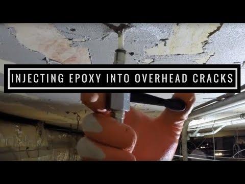 Injecting Epoxy into Overhead Cracks