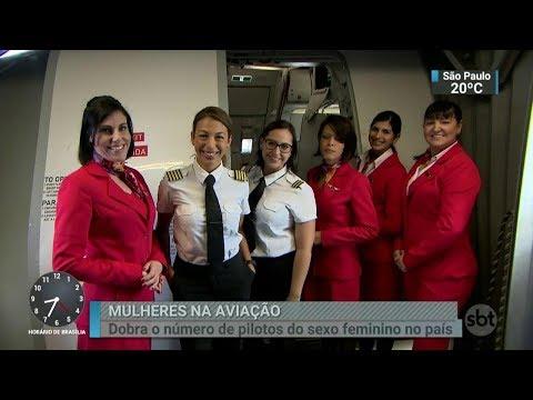 Em dois anos, número de voos pilotados por mulheres dobra no país | SBT Brasil (08/03/18)
