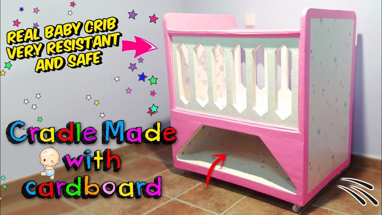 Amazing Crafts How To Make A Real Baby Crib Only With Cardboard