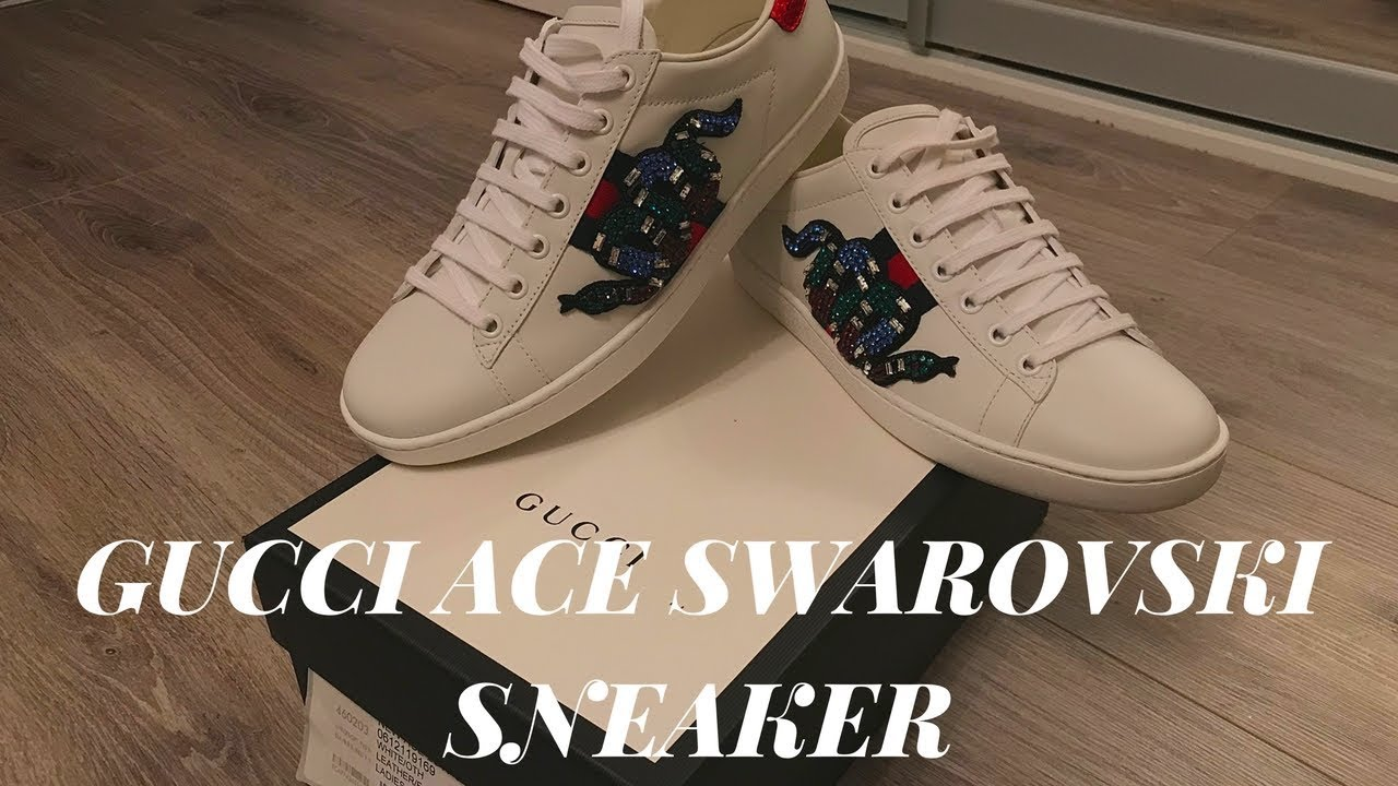 89b73e8e4a1 GUCCI ACE SNAKE SNEAKERS 2018 SWAROVSKI LIMITED EDITION UNBOXING ...