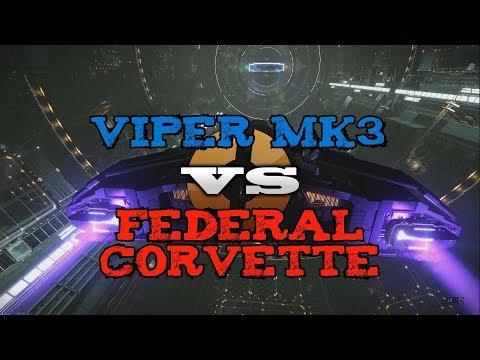 Viper Mk3 vs Federal Corvette PvP - Elite Dangerous