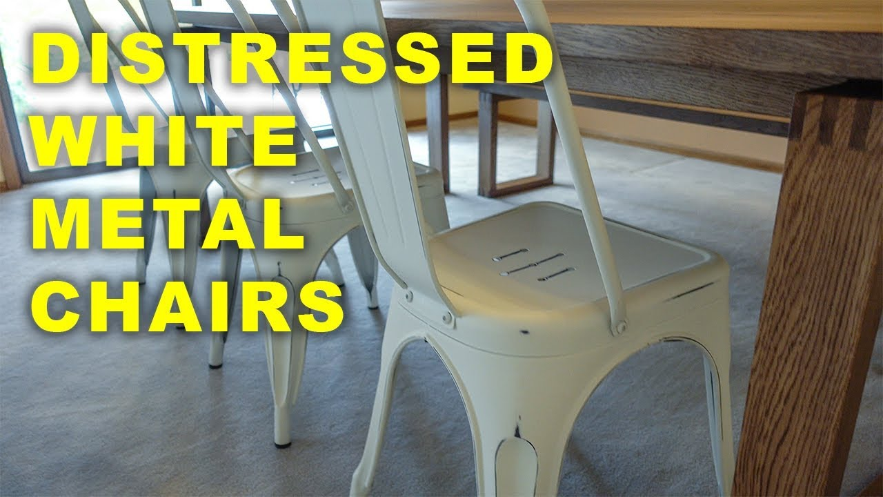 Best distressed white metal chairs