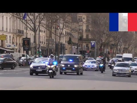 Police motorcycle escort French Minister of the Interior at Paris