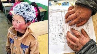 Bimbo di 8 anni arriva a scuola congelato per fare una verifica.Alla maestra si spezza il cuore