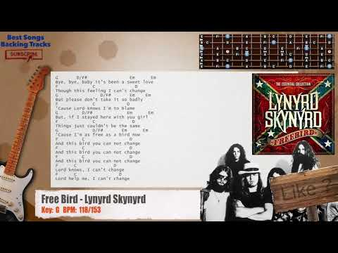 Free Bird - Lynyrd Skynyrd Guitar Backing Track with chords and lyrics