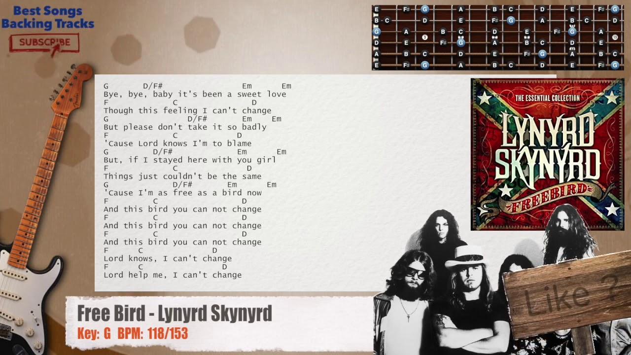 Free Bird Lynyrd Skynyrd Guitar Backing Track With Chords And