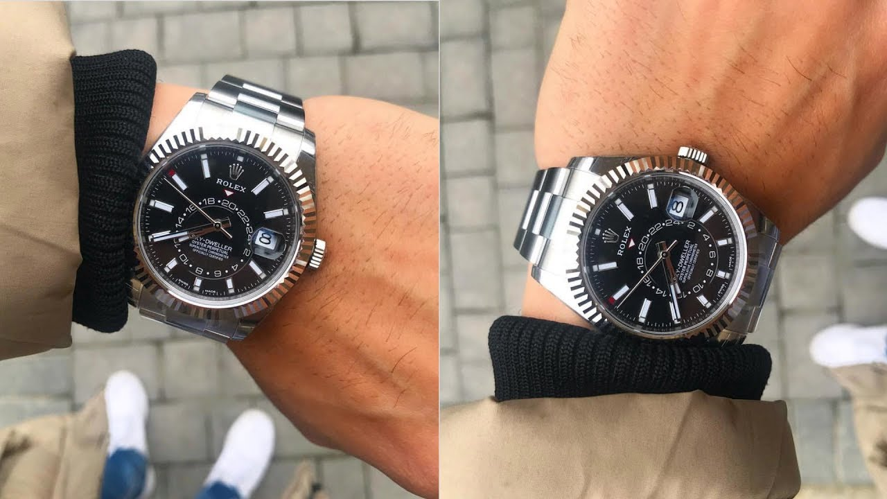 A brand new Rolex Sky,Dweller 326934 Black dial 42 mm steel and white gold  luxury watch on wrist