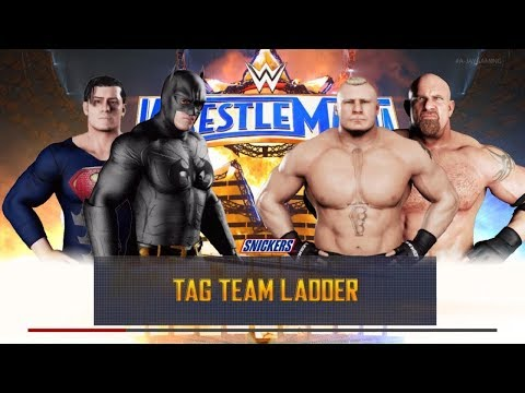 WWE 2k18 Batman and Superman VS Brock lesner and Goldberg