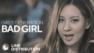 girls generation   bad girl line distribution