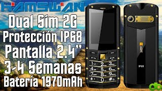 "Hamswan AGM M2 Movil Dual Sim Sumergible Antigolpe IP68 2.4"" 2G con Linterna Unboxing y Review"