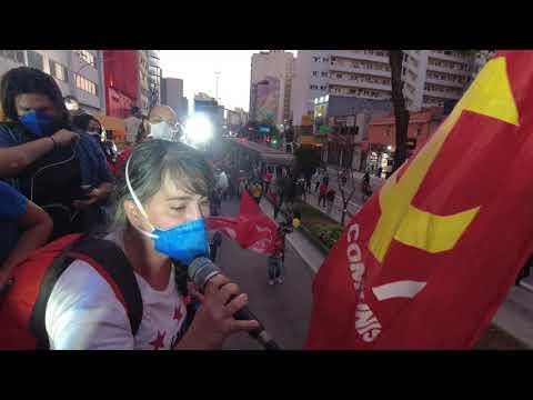 Camila, das Brigadas Populares, no #24JForaBolsonaro na Paulista