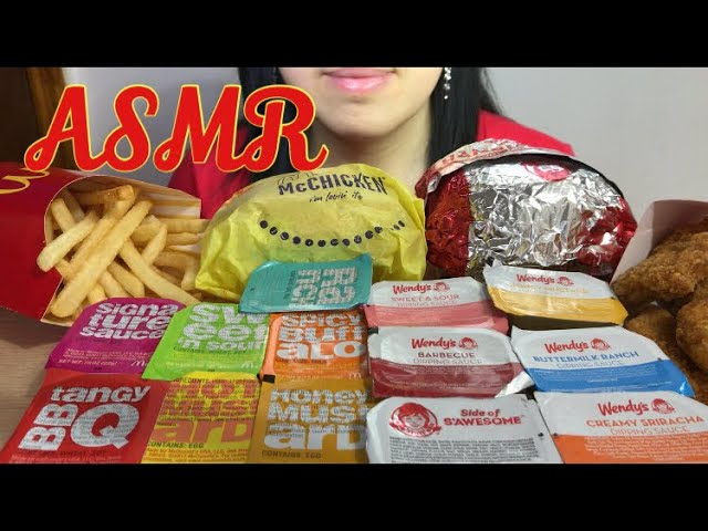 Asmr Mcdonald S Chicken Sandwich Fries Wendy S Chicken Nuggets Big Bites Eating Sounds