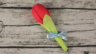 как сделать тюльпаны из ложек и гофрированной бумаги