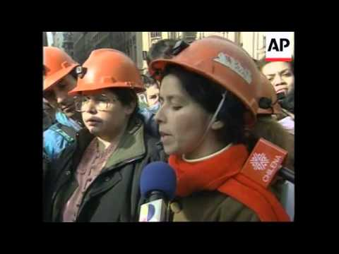 CHILE: SANTIAGO: STRIKING COAL MINERS DEMONSTRATION