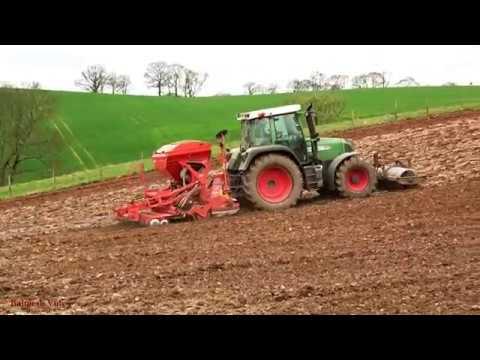Drilling Beans on the Tilth. - Fendt Action.